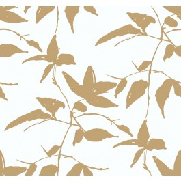AF6511 Gold, White Persimmon Leaf Wallpaper | The Fabric Co