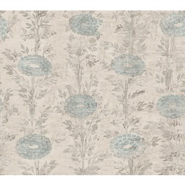 AF6517 Blue, White French Marigold Wallpaper | The Fabric Co