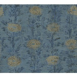 AF6520 Blue, Gold French Marigold Wallpaper   The Fabric Co