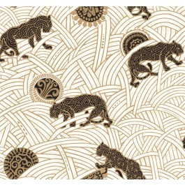 AF6549 White, Black, Gold Tibetan Tigers Wallpaper | The Fabric Co