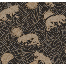 AF6550 Black, Taupe, Gold Tibetan Tigers Wallpaper | The Fabric Co