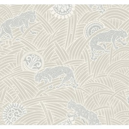 AF6553 White, Grey Tibetan Tigers Wallpaper | The Fabric Co