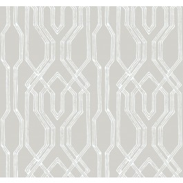 AF6558 Taupe, White Oriental Lattice Wallpaper   The Fabric Co