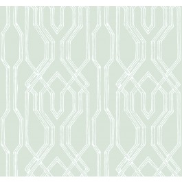 AF6559 Green, White Oriental Lattice Wallpaper   The Fabric Co
