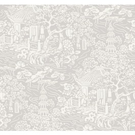 AF6573 Grey Chinoiserie Wallpaper   The Fabric Co