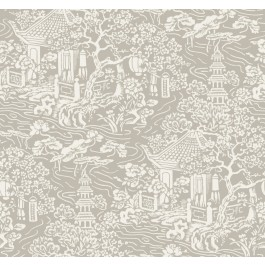 AF6574 Beige Chinoiserie Wallpaper   The Fabric Co