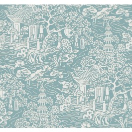 AF6575 Blue, Green Chinoiserie Wallpaper   The Fabric Co