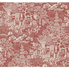AF6576 Red, Orange Chinoiserie Wallpaper | The Fabric Co