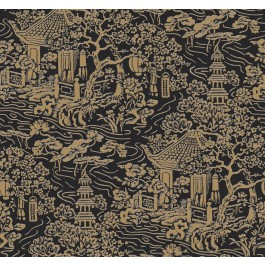 AF6577 Black, Gold Chinoiserie Wallpaper   The Fabric Co