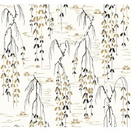 AF6581 White, Black, Gold Willow Branches Wallpaper | The Fabric Co