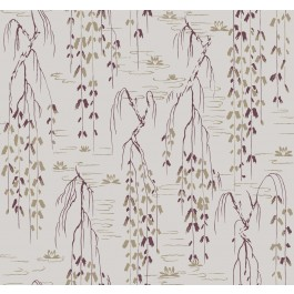 AF6584 Grey, Purple Willow Branches Wallpaper   The Fabric Co