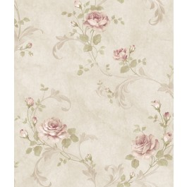 ARS26004 Gracie Stone Floral Scroll Wallpaper