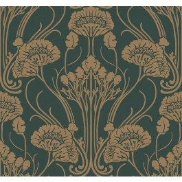 CA1566 Greens Nouveau Damask Wallpaper   The Fabric Co