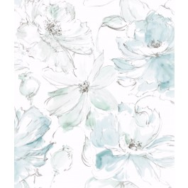 CL2517 Blue. Green Floral Dreams Wallpaper | The Fabric Co