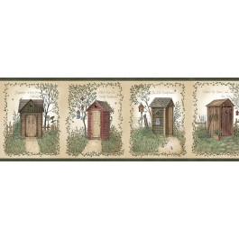 CTR50321B Fisher Sage Country Outhouses Wallpaper Border