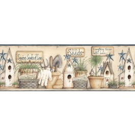 CTR63121B Harlow Blue Everything Grows With Love Wallpaper Border