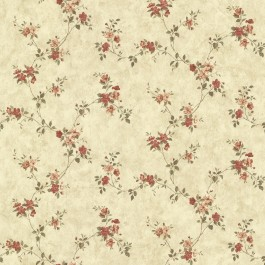 CTR64192 Rose Valley Red Floral Trail Wallpaper