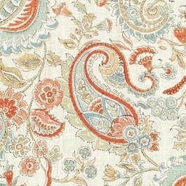 Coral Turquoise Green Multicolored Floral Print DP61723 761 Papaya Sage Duralee Fabric