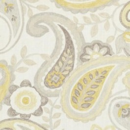 Yellow Grey Paisley Floral DP61727 205 Jonquil Duralee Fabric