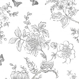 FH37540 Black on white Butterfly Toile Wallpaper