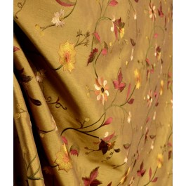 Garden Paradise Embroidery DK Gold Faux Silk Floral Drapery Fabric
