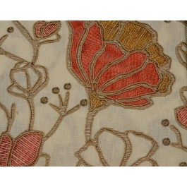 Heathgate Coral Pink High End Embroidered Floral Hamilton Fabric