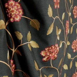 Isabella Black Red Floral Poly Black Fabric