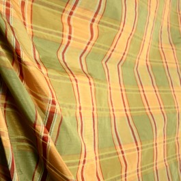 Kashgar Pine Embroidered Poly Plaid Drapery Fabric