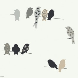 KB8538 Taupe Grey Bird On A Wire York Wallpaper