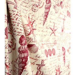 Kittery Red Nautical Fabric From Microfibres With Seashells