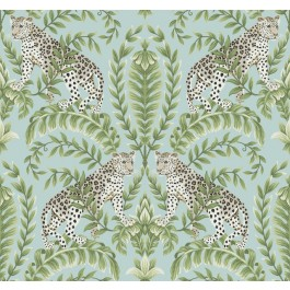 KT2204 Teal Jungle Leopard Wallpaper | The Fabric Co