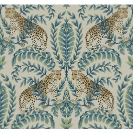 KT2206 Taupe Jungle Leopard Wallpaper | The Fabric Co
