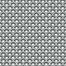 MK1150 Stacked Scallops  Grey Wallpaper   The Fabric Co