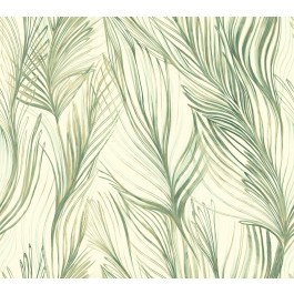 NA0500 Green Peaceful Plume Wallpaper | The Fabric Co