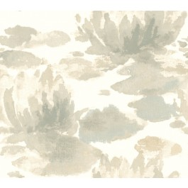 NA0524 Grey Water Lily Wallpaper | The Fabric Co
