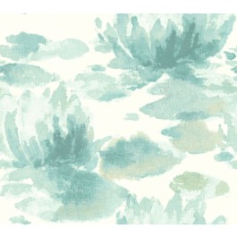 NA0525 Blue Water Lily Wallpaper | The Fabric Co