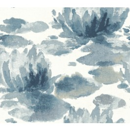 NA0527 Dark Blue Water Lily Wallpaper   The Fabric Co