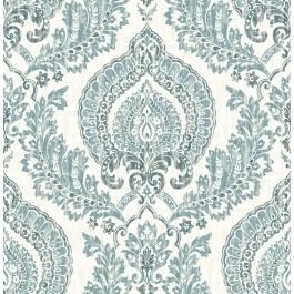 NU1702 Kensington Damask Blue Peel and Stick Wallpaper