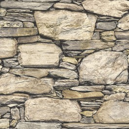 NU2065 Hadrian Stone Wall Brown Texture Peel and Stick Wallpaper