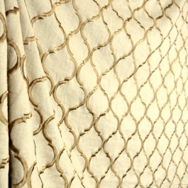 Ornella Driftwood Linen Trellis Embroidered Fabric