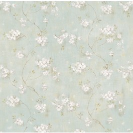 Braham Blue Country Floral Scroll Wallpaper