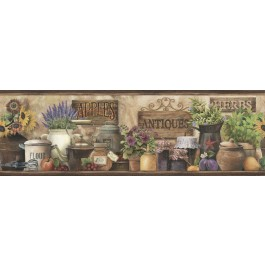 PUR44582B Brittany Brown Herbs Antiques Portrait Border