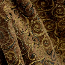 Revolve Saddle Brown Scroll Chenille Black Brown Fabric
