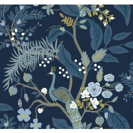 RI5172 Navy Peacock Wallpaper | Rifle Paper Co. | The Fabric Co