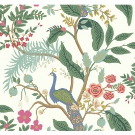 RI5174 Periwinkle Peacock Wallpaper | Rifle Paper Co. | The Fabric Co