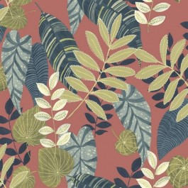 RY30906 Tropicana Red Blue Green Wallpaper | Seabrook | The Fabric Co