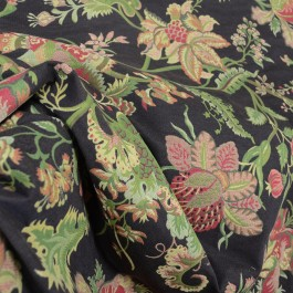 Brown Rust Green Jacobean Floral Upholstery Fabric Spencer