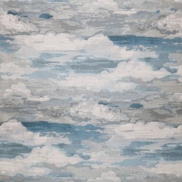 Above The Clouds Sky Light Blue Metallic Abstract  Cloud Upholstery Swavelle Mill Creek Fabric