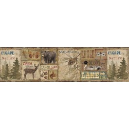 TLL01592B Attitash Brown Deer Camp Wallpaper Border