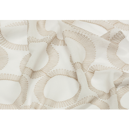 Tan Geometric Circles Embroidered Sheer Semblance Latte Eroica Fabric